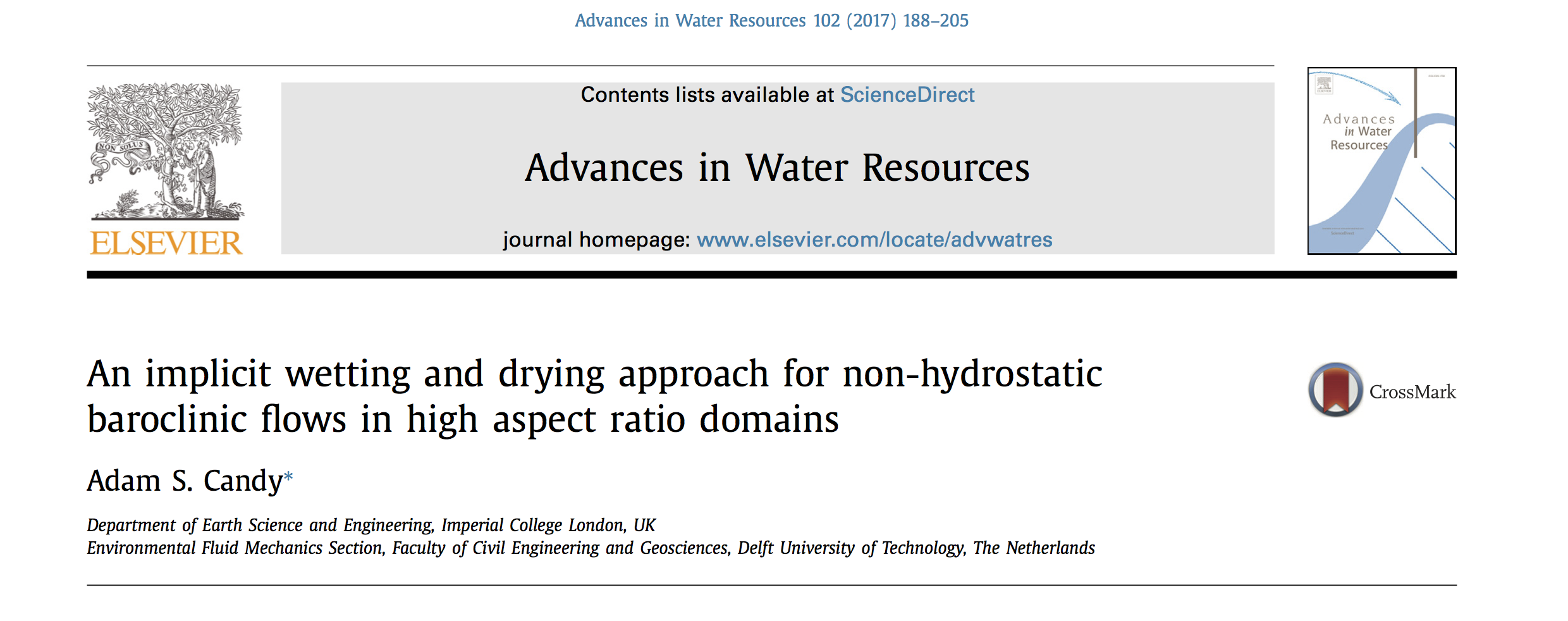 Published paper: An implicit wetting and drying approach for non-hydrostatic baroclinic flows in high aspect ratio domains