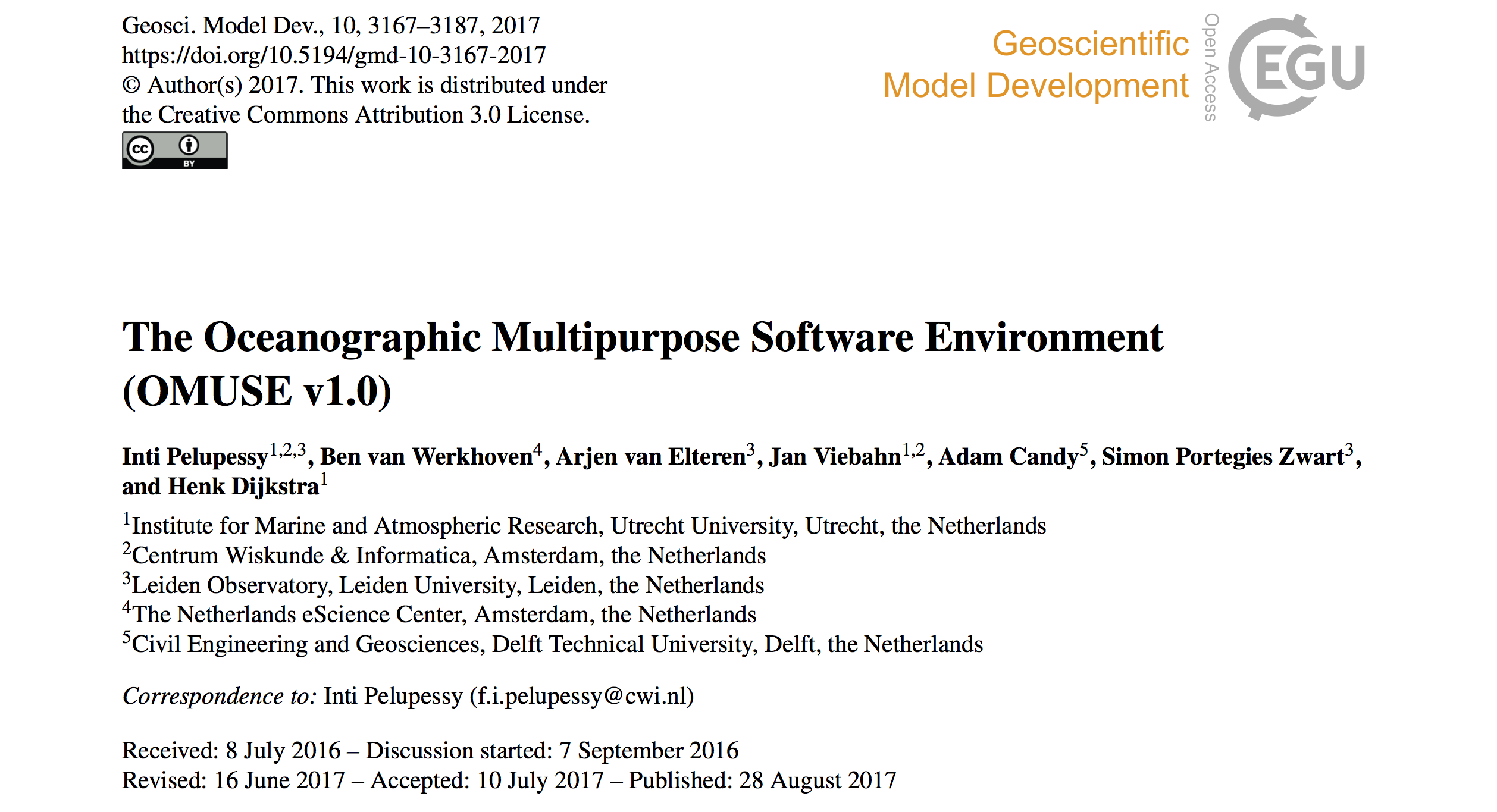 Published paper: The Oceanographic Multipurpose Software Environment (OMUSE)