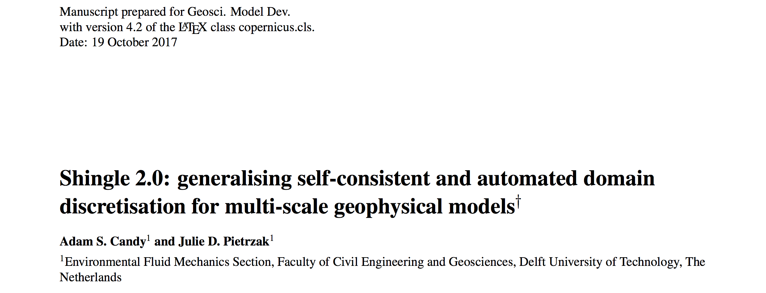 Published paper: Shingle 2.0: generalising self-consistent and automated domain discretisation for multi-scale geophysical models